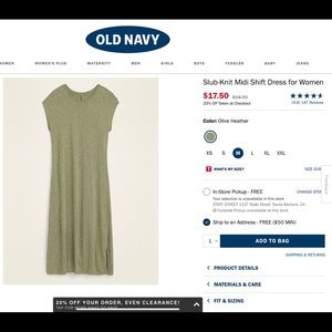 Old Navy Olive Slub Knit Midi Shift Dress